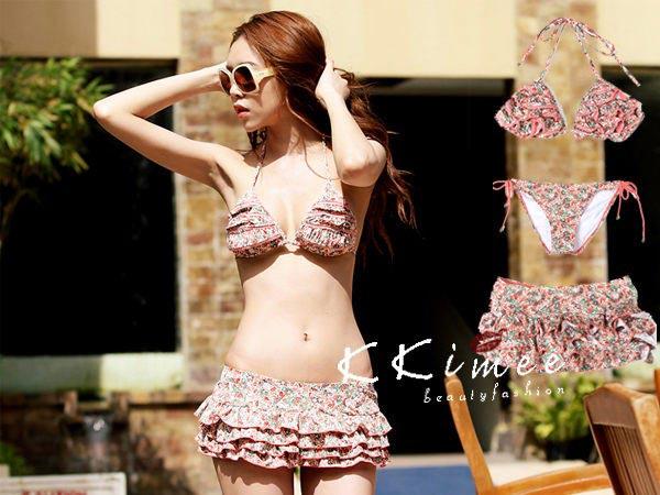 ▲KKimee╭*韓版泡溫泉花朵碎花圖案比基尼三件式泳衣+蛋糕裙子沙灘戲水泳裝
