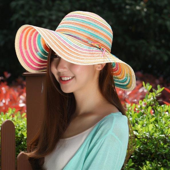 ▲戶外折疊草帽女士遮陽帽防曬帽子女夏天沙灘帽/4色
