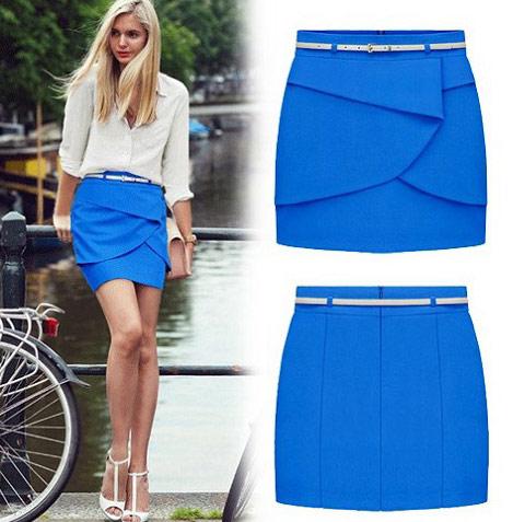 ▲BOBI韓系藍壓摺裙片包臀窄裙短裙