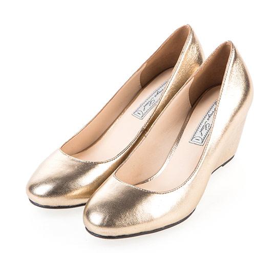 ▲Sonya Sissel‧優雅女伶時尚羊皮楔型鞋 (金色)