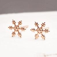 潔白聖曲耶誕雪花10K耳環