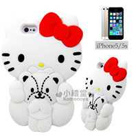 Hello Kitty iPhone造型裝飾殼《白.抱小熊》矽膠材質手機殼