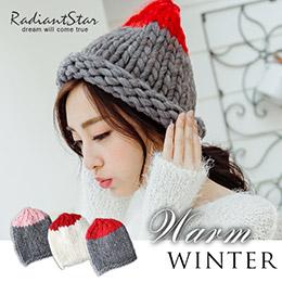 首爾拼色可捲輕甜超粗織毛線帽