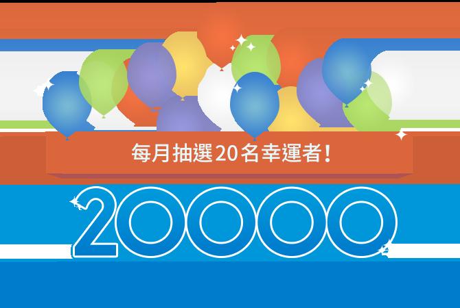 20,000樂天超級點數大贈送!