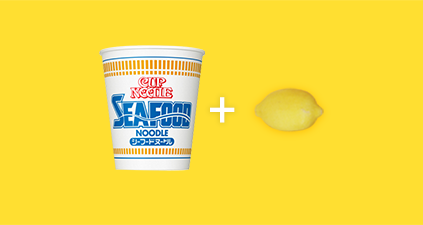 seafood cup noodles and lemon