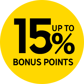 15% UP TO POINTS BACK