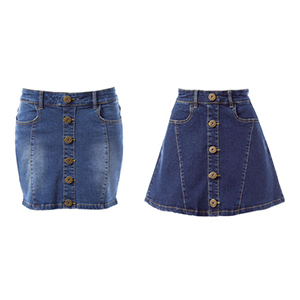 Trapezoid Denim Stretch Skirt