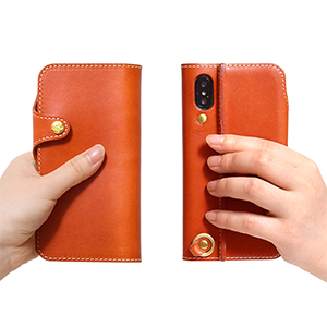 Genuine leather smartphone case notebook type