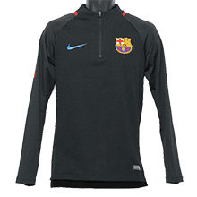 FC Barcelona 17-18 SQUAD 1/4 ZIP Drill Top (Black)
