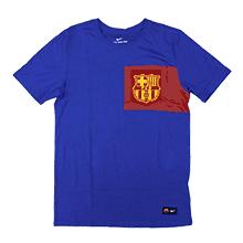 巴塞罗那足球俱乐部 2017 队徽 T恤 少年(蓝色)
