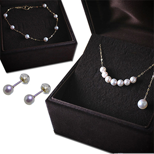 Japanese Akoya pearl necklace, earrings and bracelet jewelry set