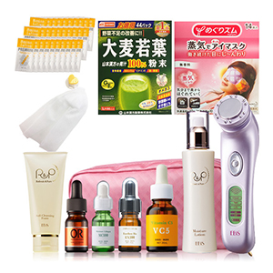 Assorted set of skincare and supplement