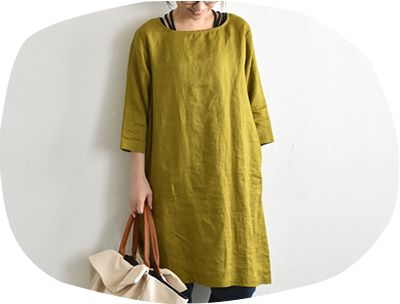 100% linen simple dress with square neckline