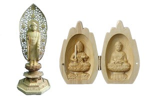 Wood carving Buddha statue of Tomoe