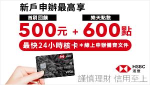 新戶辦卡完成任務享500元刷卡金,首刷成功再享樂天點數600點!