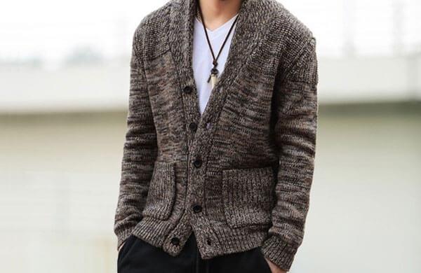 粗針男針織外套