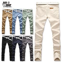 水洗皮標口袋休閒長褲