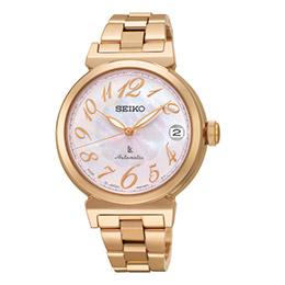 Seiko Lukia粉麗玫瑰金機械腕錶