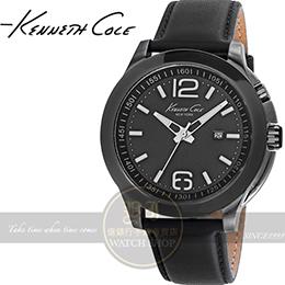 Kenneth Col 雅痞紳士冷光皮帶腕錶