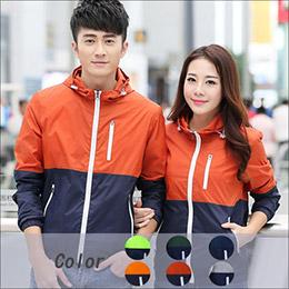 日韓風格‧內裡耳機孔造型直拉鍊拼接連帽休閒外套