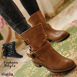時尚木質低跟馬汀短靴