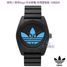 Adidas經典三葉草logo黑框藍錶