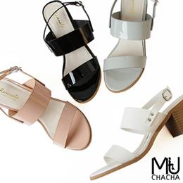 韓系寬帶修飾比例漆皮粗跟涼鞋