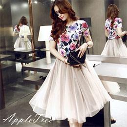 玫瑰幻彩上衣+彈力質感紗長裙