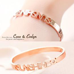 鈦鋼玫瑰金 金屬光澤鑲鑽手環