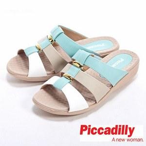 金屬環裝飾三色厚底涼鞋
