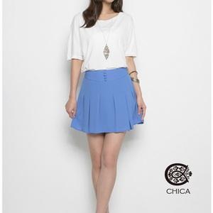 藍調情懷 絲滑高腰短裙