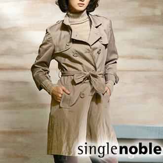 都會時尚雙排釦風衣式外套 (卡其)駝色