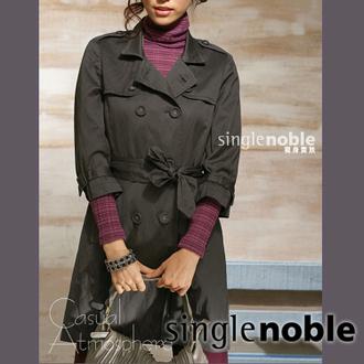 都會時尚雙排釦風衣式外套-黑