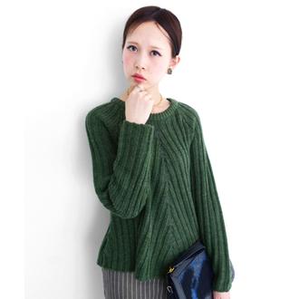 深淺羅紋針織衫-綠色