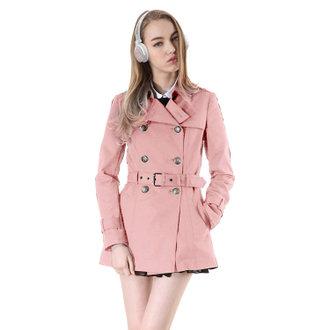學院經典短版風衣-粉紅