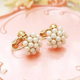 小珍珠團 夾式耳環
