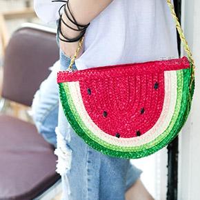 可愛西瓜編織鍊條包