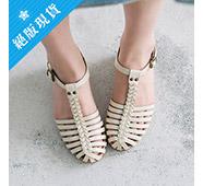 低跟編織楔型涼鞋