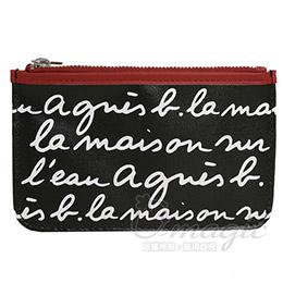 agnes b. 皮革草寫LOGO萬用夾