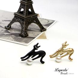 俏皮魔女貓 手繪彩漆珍珠長版項鍊