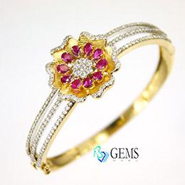 扶桑花18K金真鑽紅寶石扣式手環