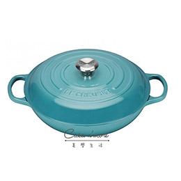 Le Creuset 鑄鐵鍋 淺圓鍋 壽喜燒 LC 鍋 最新加勒比海藍 30 cm