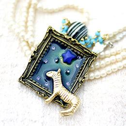 神秘童話畫框小馬珍珠 長項鍊
