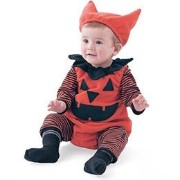 嬰兒造型純棉三件套南瓜連身衣