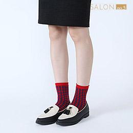 靴下屋Tabio 英倫風格子拉鏈中筒襪