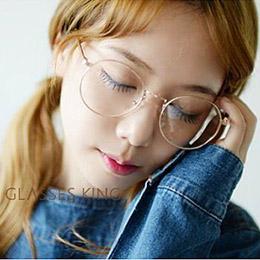 時尚復古圓框金屬質感平光眼鏡