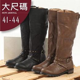 韓版鉚釘質感高筒修飾長靴