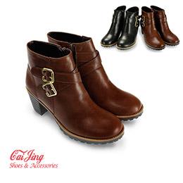 質感金釦英倫馬靴