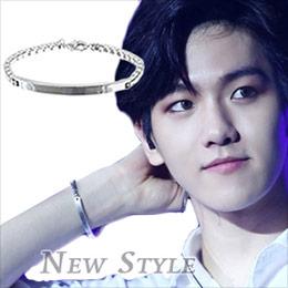 EXO Baekhyun 邊伯賢 同款銀光平板手鏈手環