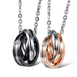 新款三環相扣 浪漫情侶鈦鋼項鏈